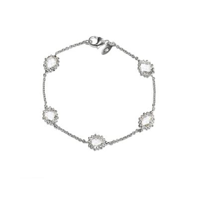 Dew Drop - Pear Link Bracelet - Clear Topaz & Silver
