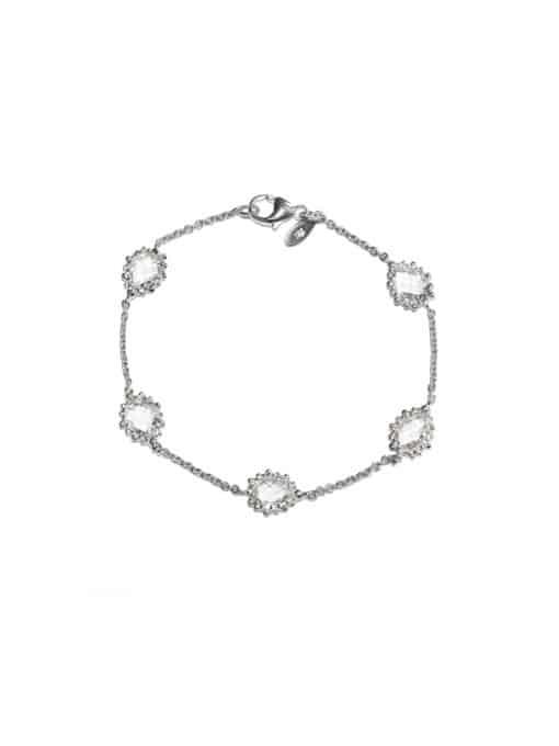 Dew Drop - Pear Link Bracelet - Clear Topaz & Silver