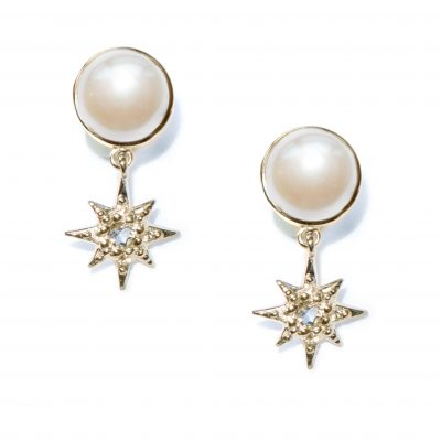 Aztec Floating Micro Starburst Studs - Water Pearl & Gold