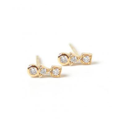 Cléo Bar Studs - Diamonds & Gold