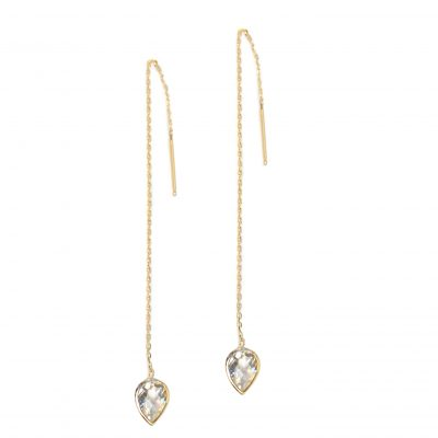 Classique Pear Chain Earrings - Clear Topaz & Gold