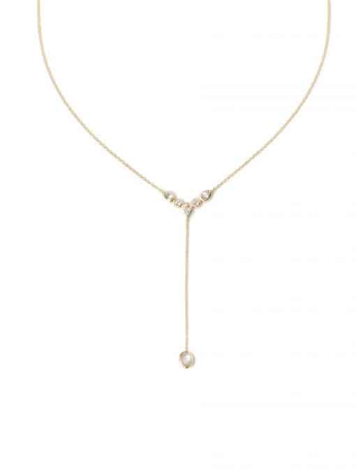 Classique Bezel Y Necklace - Clear Topaz & Gold