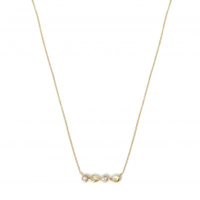 Classique Linéa Micro Bar Necklace - Moonstone, Clear Topaz & Gold