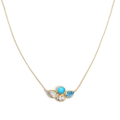 Bezel Bouquet Necklace - Turquoise & Blue Topaz & Gold