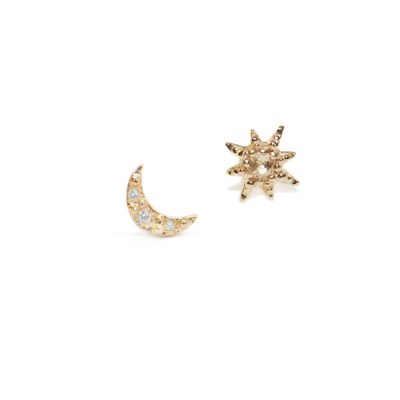 Aztec Moon Crescent & Starburst Mix Studs - Clear Topaz, Diamonds & Gold