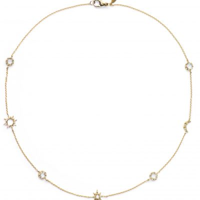 Aztec Micro Celestial Necklace - Clear Topaz