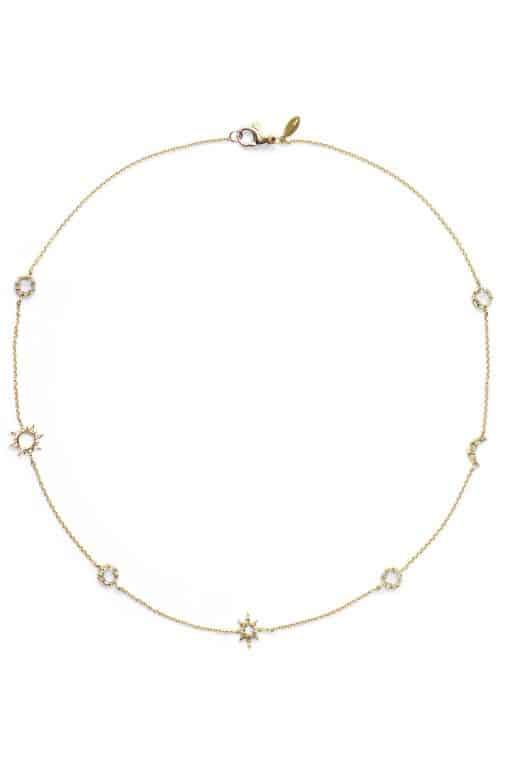 Aztec Micro Celestial Necklace - Clear Topaz