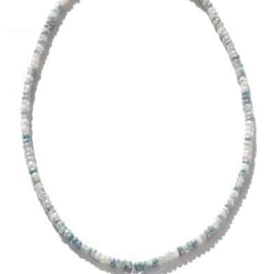 ztec micro Starburst Rondelle Necklace - Clear Topaz, White Silverite