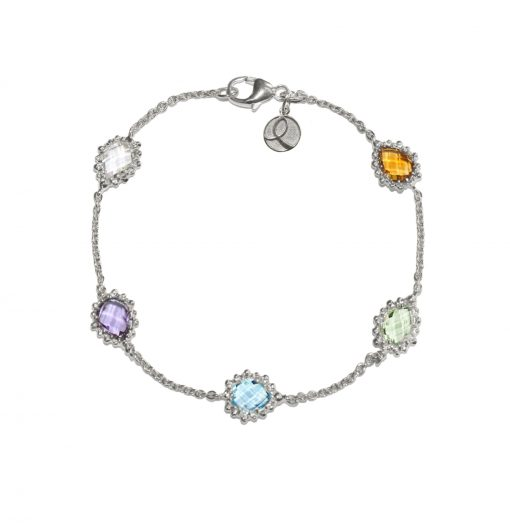 Colon Cancer Lifesaver Dewdrop Bracelet - Silver