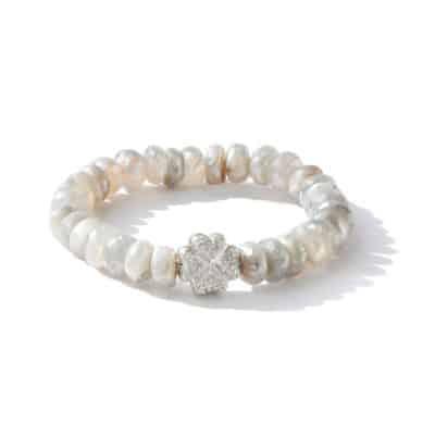 Boheme Pavé Clover Bracelet - Mystic grey moonstone & Silver