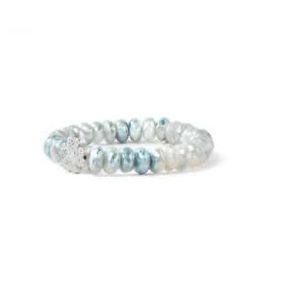 Boheme Pavé Clover Bracelet - Blue Silverite & Silver