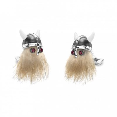 Hairy Viking Skull with Black Helmet and Ruby Eyes