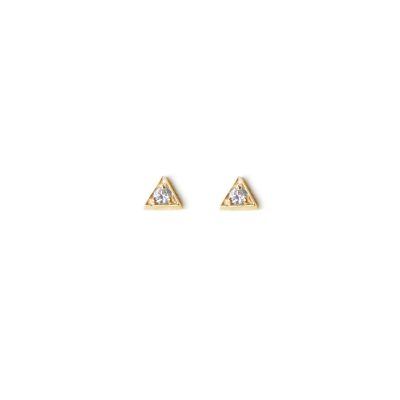 Cléo Triangle Studs - Diamonds & Gold