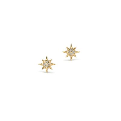 Micro Aztec north star studs - Diamonds & Gold