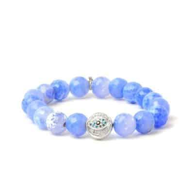 Boheme Silver Vintage Star Bracelet - Blue Jade rondelles & Silver