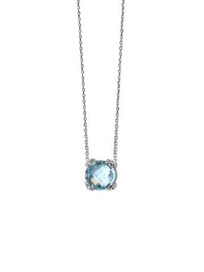 Dew Drop Mini Cluster Necklace - Blue Topaz & Silver