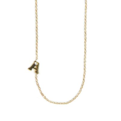 ve Letter single diamond necklace A to Z - Diamond & Gold