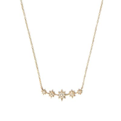 Aztec North Star mini Bar Necklace - Diamonds & Gold
