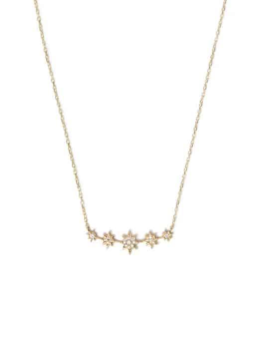 Aztec North Star mini Bar Necklace - Diamonds & Gold