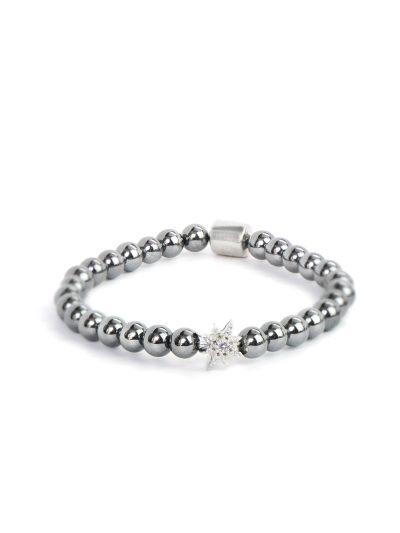 Boheme Silver Starburst Bracelet - Hematite & Silver