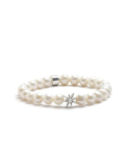 Boheme Silver Starburst Bracelet - Fresh Water Pearls