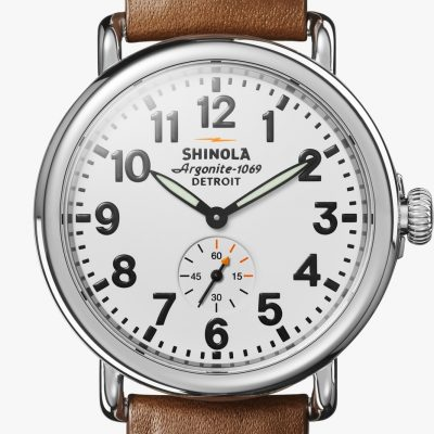 Runwell 41mm White Dial Brown Strap